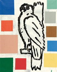 abstract painting with bird 9 by donald baechler