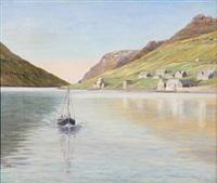 fishing boat in a fiord on the faroe islands by joen waagstein
