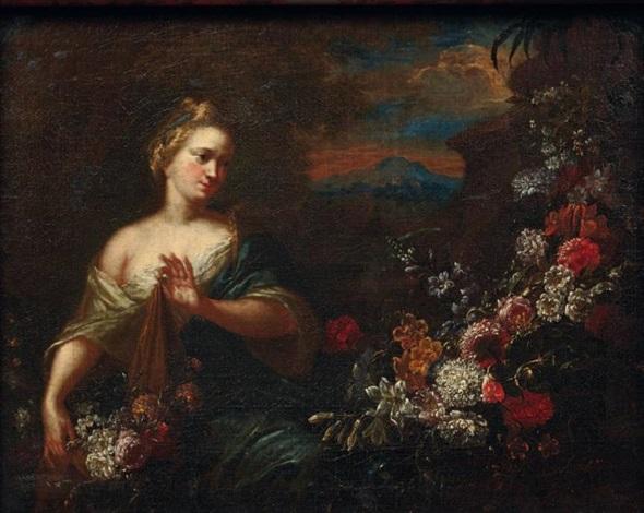 jeune fille avec une guirlande de fleurs by gaspar pieter verbruggen the younger