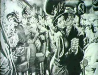 story illustration. crowded new york city tavern.      the foster portfolio by albert l. dorne