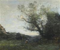souvenir d'italie - la cueillette by jean-baptiste-camille corot