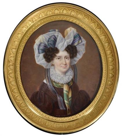 portrait de femme en robe brune ornée dun col en dentelle et la tête couverte dun énorme fichu by etienne ferdinand mulnier