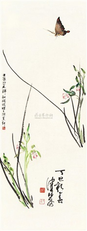兰蝶图 flowers and butterfly by han min and chen peiqiu