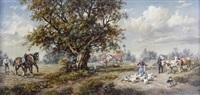 oberbayerische landschaft mit gänsemagd und bauersleuten by arnold dannecker
