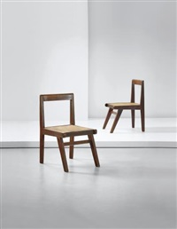 pair of chairs, model no. pj-si-15-a, designed for the himalayan hostel cafeteria and private residencies, chandigarh by pierre jeanneret