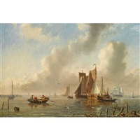 sailing vessels in an estuary by adrianus david hilleveld