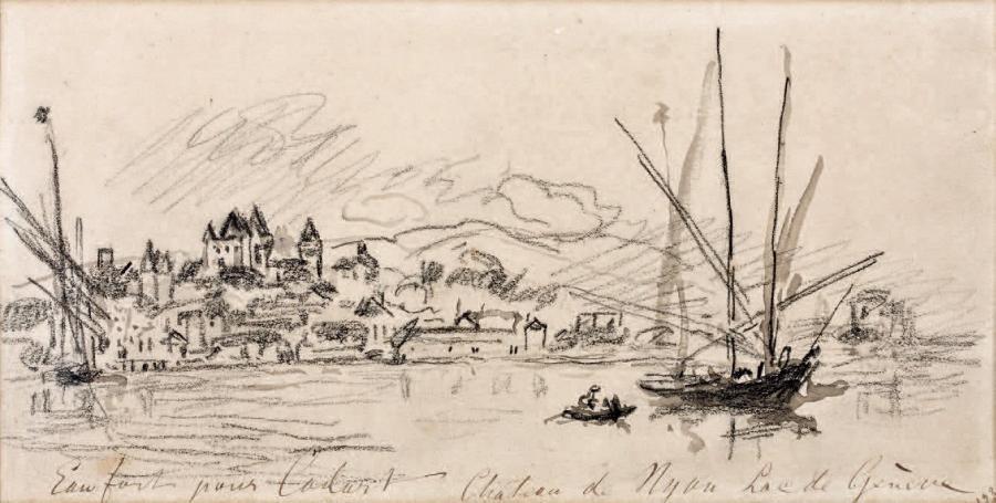 château de nyon lac de genève by johan barthold jongkind
