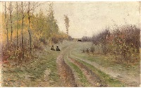autumnal scene by vasili (vladimir) vasilievich perepletchikov