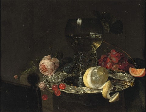 a roemer with white wine a partially peeled lemon cherries and other fruit on a silver plate with a rose and grapes on a stone ledge by simon luttichuys