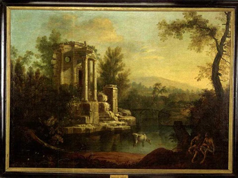 a landscape with figures by a classical ruin by jean baptiste charles claudot