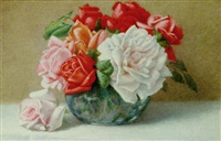 a still life of roses by harry foster newey