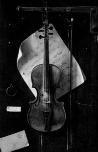 trompe l'oeil - still life with violin by w.g. becker
