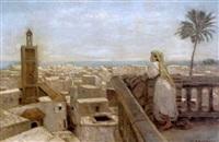femme sur la terrasse devant la mer, tanger by karl hofmann