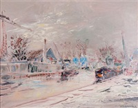 les bords de seine sous la neige by alexis guy korovin