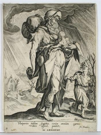 aus der folge der tugenden und laster stolz neid armut frieden 4 works by jacques de gheyn ii
