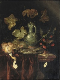 a silver mounted kendi, a peeled lemon, a roll of bread, and black and white grapes by harmen loeding