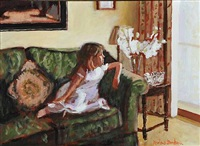 little girl on the sofa by rowland davidson