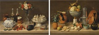 cuadro de comedor con florero de cristal, sopera azul y blanco y gallina and cuadro de comedor con frutero, jarro y cafetera by josé agustín arrieta