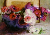 anemonies in a blue and white bowl by louise coupé