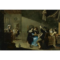 card players and merrymakers drinking in an interior by jacob duck