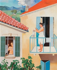 femme au balcon by alfred courmes