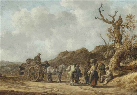 a dune landscape with figures on a horse drawn cart and others conversing on a path by jan josefsz van goyen