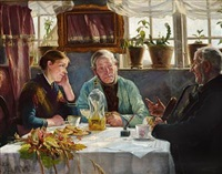 interior with a girl and two old men drinking coffee and schnapps by hans christian koefoed