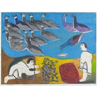 untitled (duck hunting) by janet kigusiuq