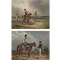 a cavalry skirmish (+ a cavalry officer with an infantry officer; pair) by henry martens