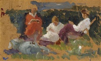 three ladies drinking tea in a garden (+ solitary tree, verso) by solomon garf