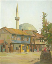 landscape with mosque by constantin artachino