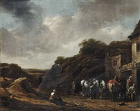 travellers outside a tavern by barend gael