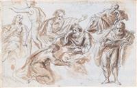mehrere figuren (study, recto/verso) by aureliano milani
