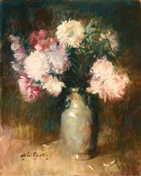chrysanthemums in a vase by william frederick foster
