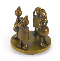three evils and cone figure by tom otterness
