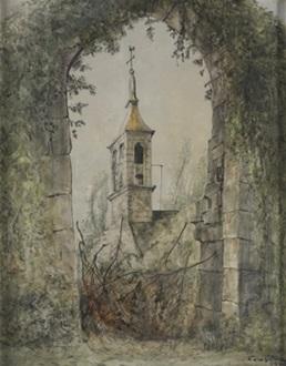 iglesia cerca del esconil finisterre by léonard tsuguharu foujita