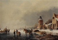 a winter landscape with skaters on the ice by hester adriana cornelia zaalberg