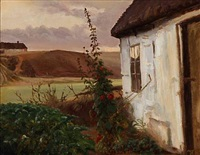 hollyhocks at a danish farm by hans ludvig smidth