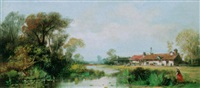 a landscape with farmhouses along a river by johan daniel koelmann