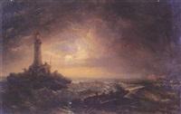 tormenta de noche en el faro by raphael monleon y torres