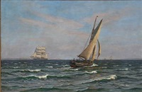 seascape with sailing ships and boats off the coast of gilleleje, denmark by vilhelm karl ferdinand arnesen