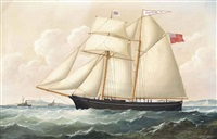 the topsail schooner coniston inward-bound to liverpool off anglesey by joseph semple