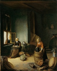 kücheninterieur mit zwei mägden bei der arbeit und einer frau am fenster by paul van den bosch