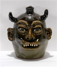 devil jack o' lantern face jug by lanier meaders
