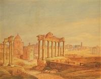 blick auf rom hinter antiken tempelruinen by gabriele smargiassi