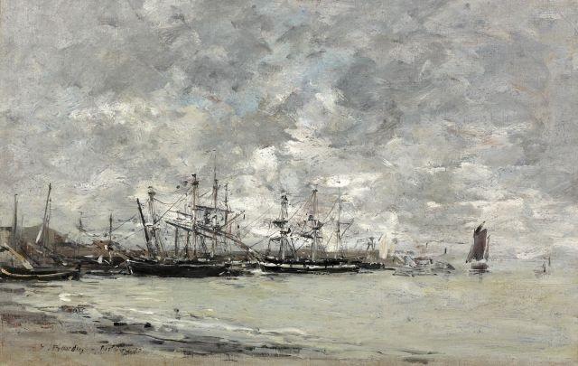 portrieux bateaux de pêche temps gris by eugène boudin