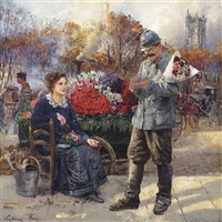 flower seller near the tour st. jacques by léon joseph voirin