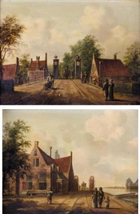the diemen toll gate at the outerwaler bridge, amsterdam (+ the toll gate at sloterdijk, amsterdam; pair) by fredericus theodorus renard