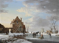 a winter's evening, dordrecht by a. de groote