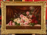 gerbe de roses sur un entablement by frans mortelmans